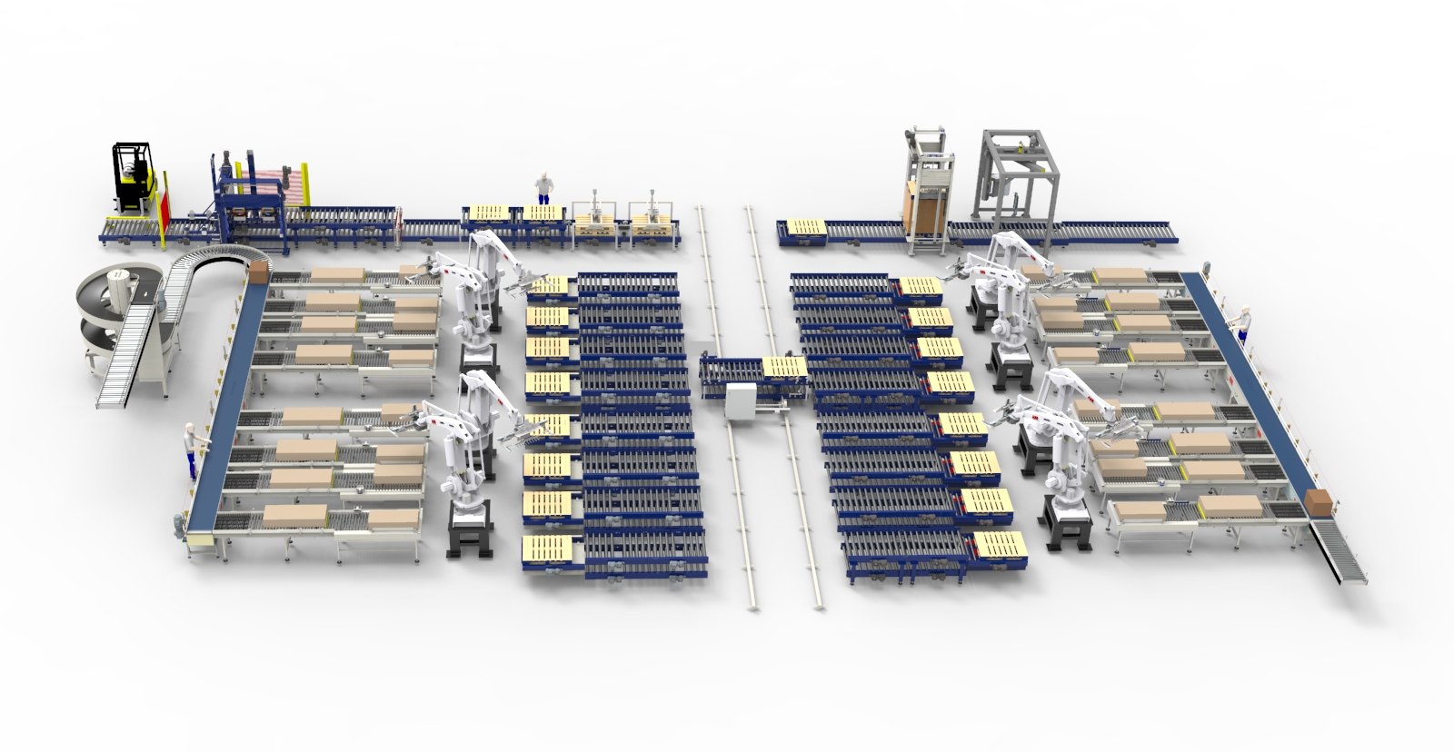Central robot palletising system