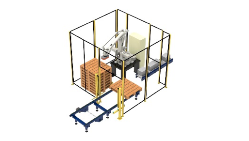 Single cell robot palletising system