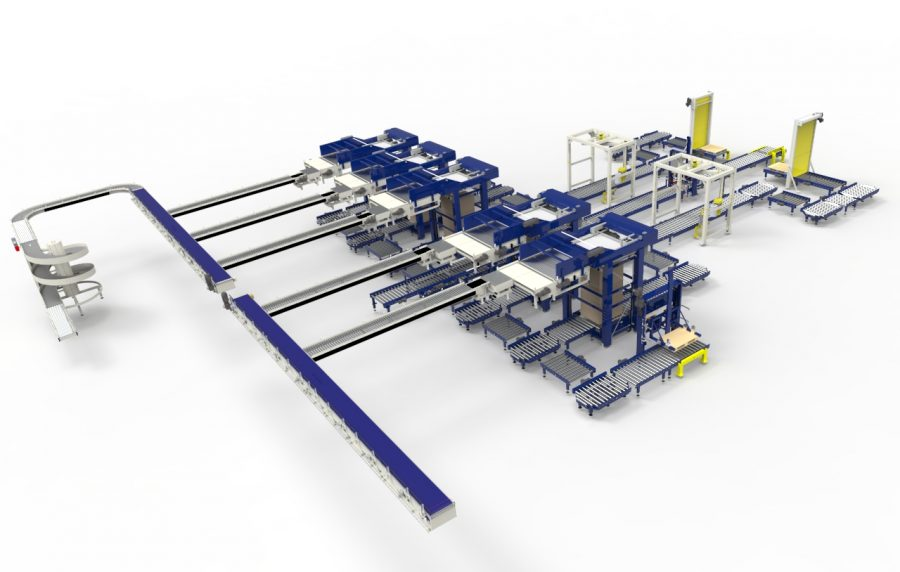 An example of a full layer palletising system installed by CKF