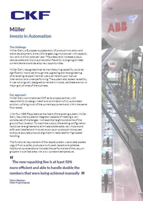 A case study showing an automation project for Muller a food industry customer