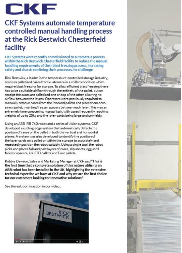 Case study showing how CKF automated the manual handling processes for a customer